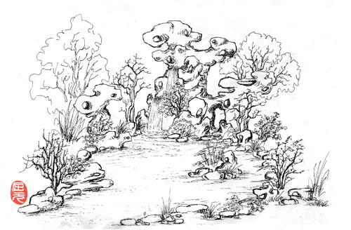 景观竹手绘线稿