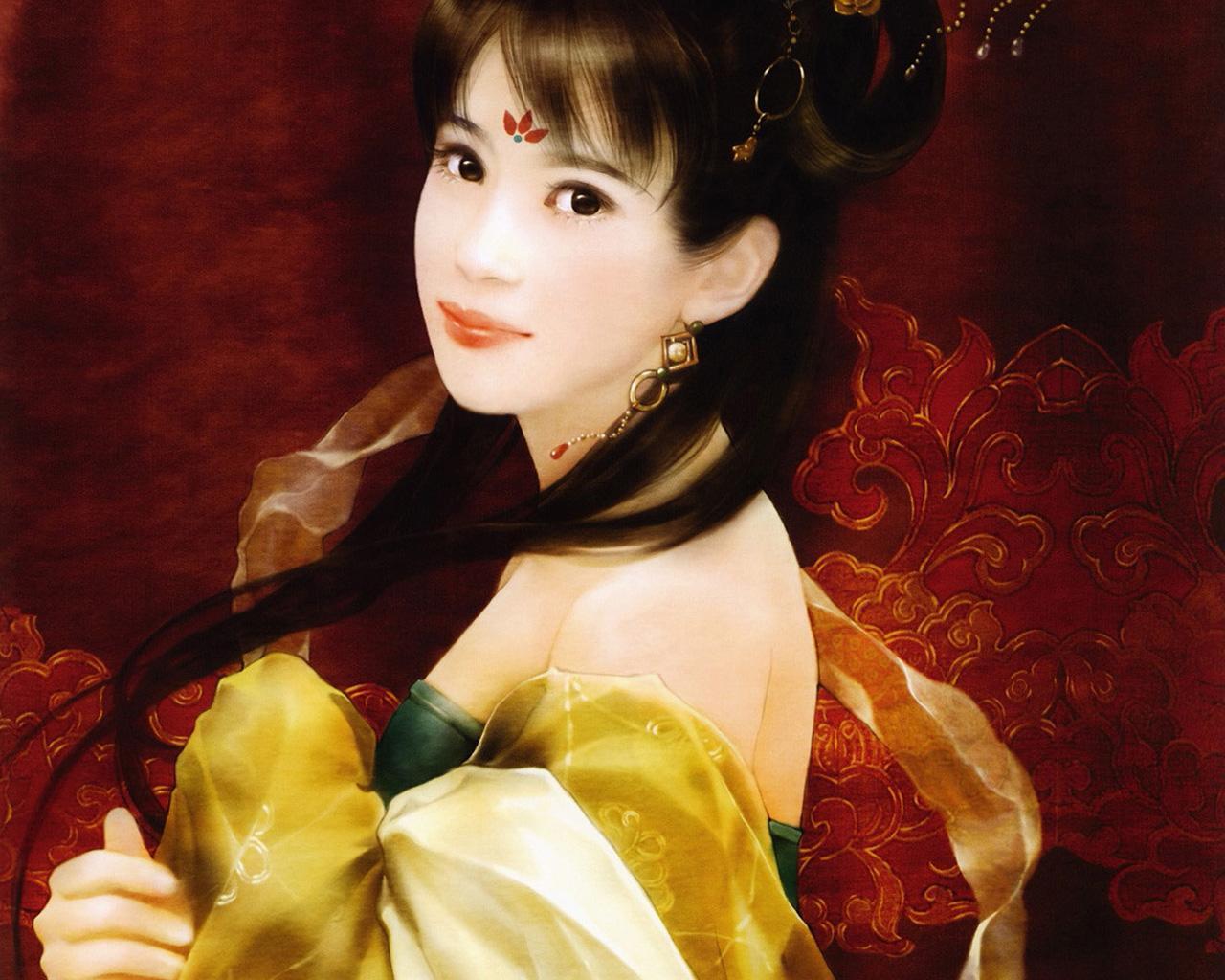 古风手绘清朝美女图片