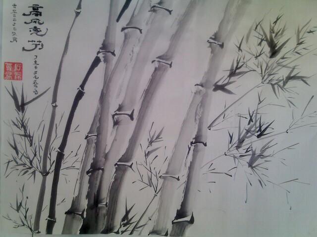 山水手绘黑白画