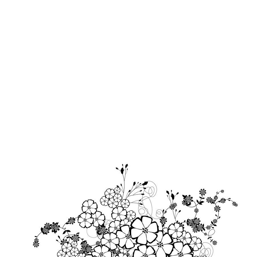 黑白花朵花边psd分层素材